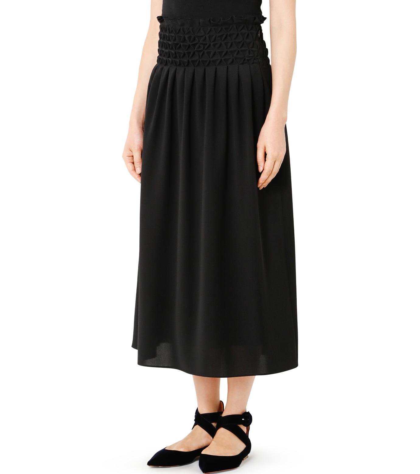 LE CIEL BLEU(ルシェルブルー)のスモッキングロングスカート-BLACK(スカート/skirt)-18A67638 拡大詳細画像1