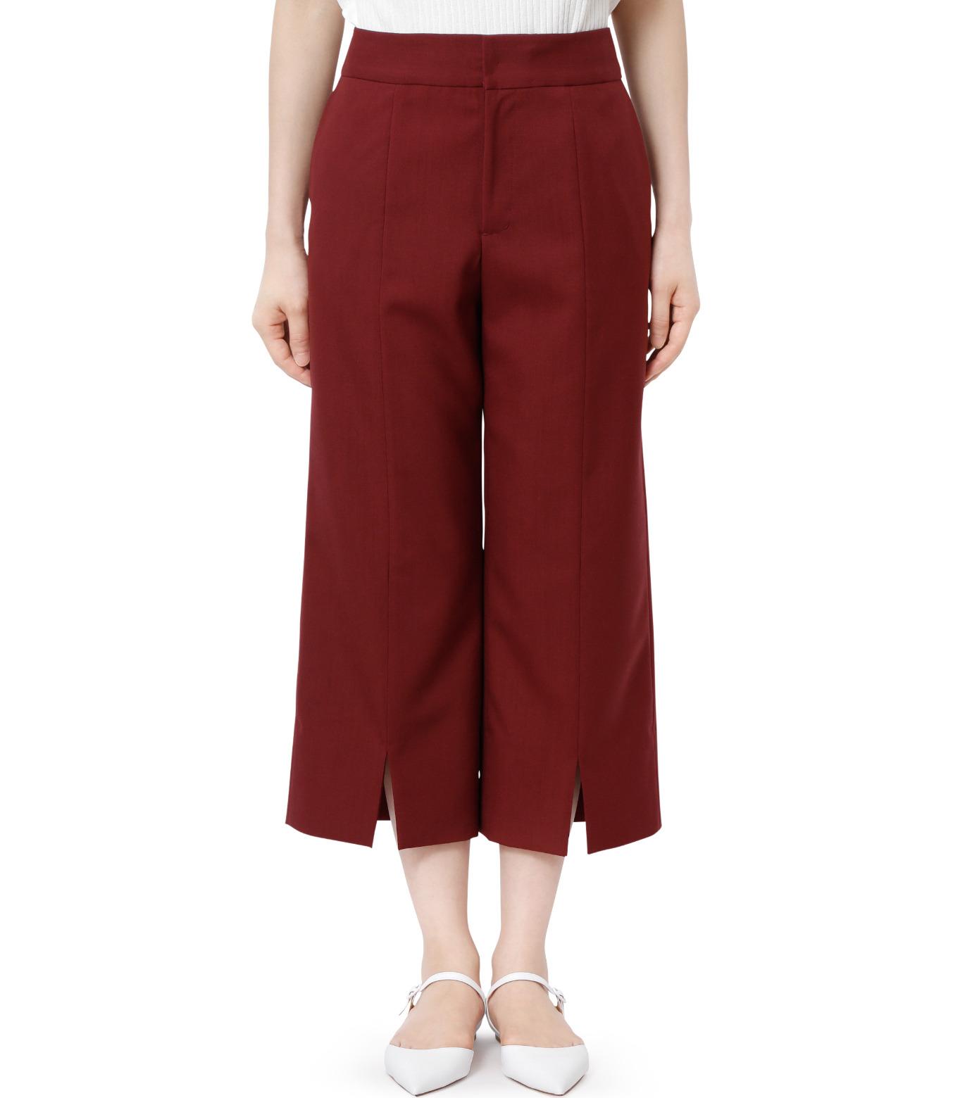 LE CIEL BLEU(ルシェルブルー)のサマーウールストレートパンツ-BORDEAUX(パンツ/pants)-18A68001 拡大詳細画像1