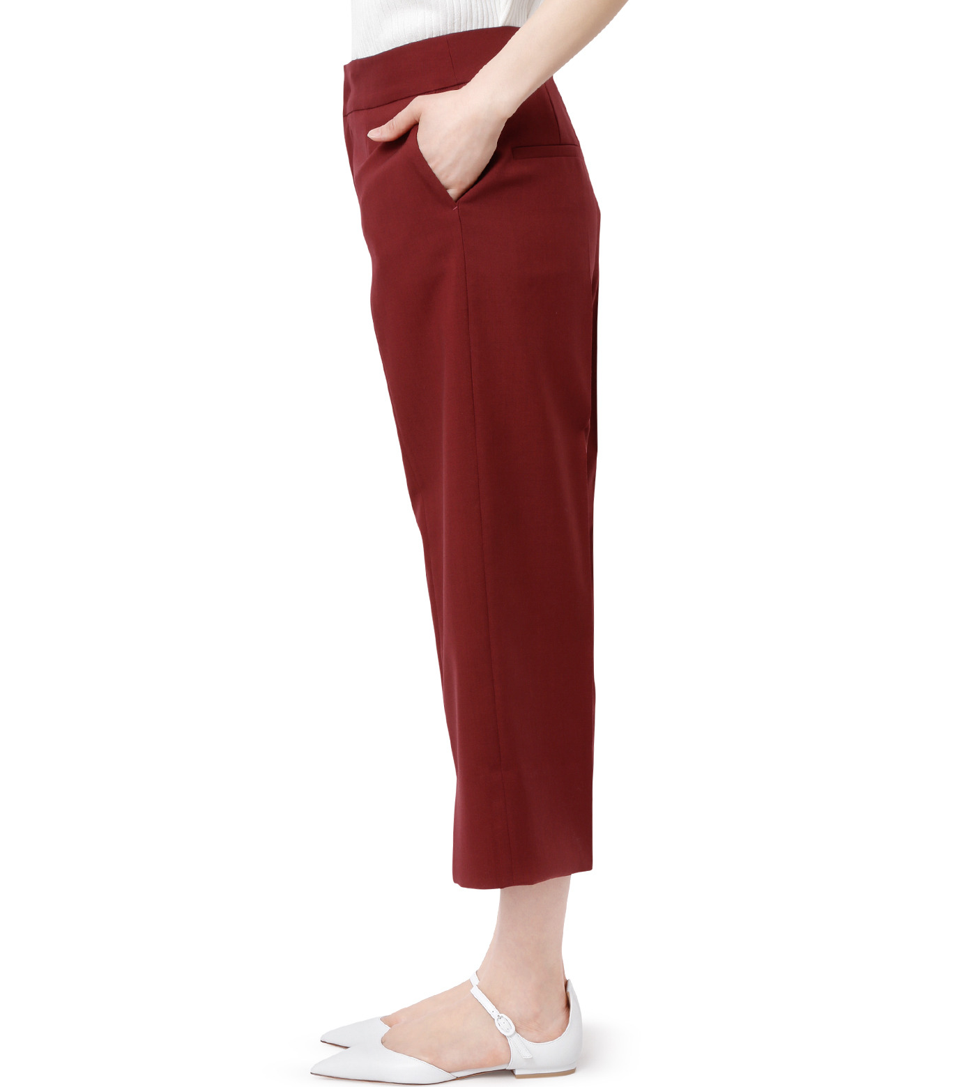LE CIEL BLEU(ルシェルブルー)のサマーウールストレートパンツ-BORDEAUX(パンツ/pants)-18A68001 拡大詳細画像2