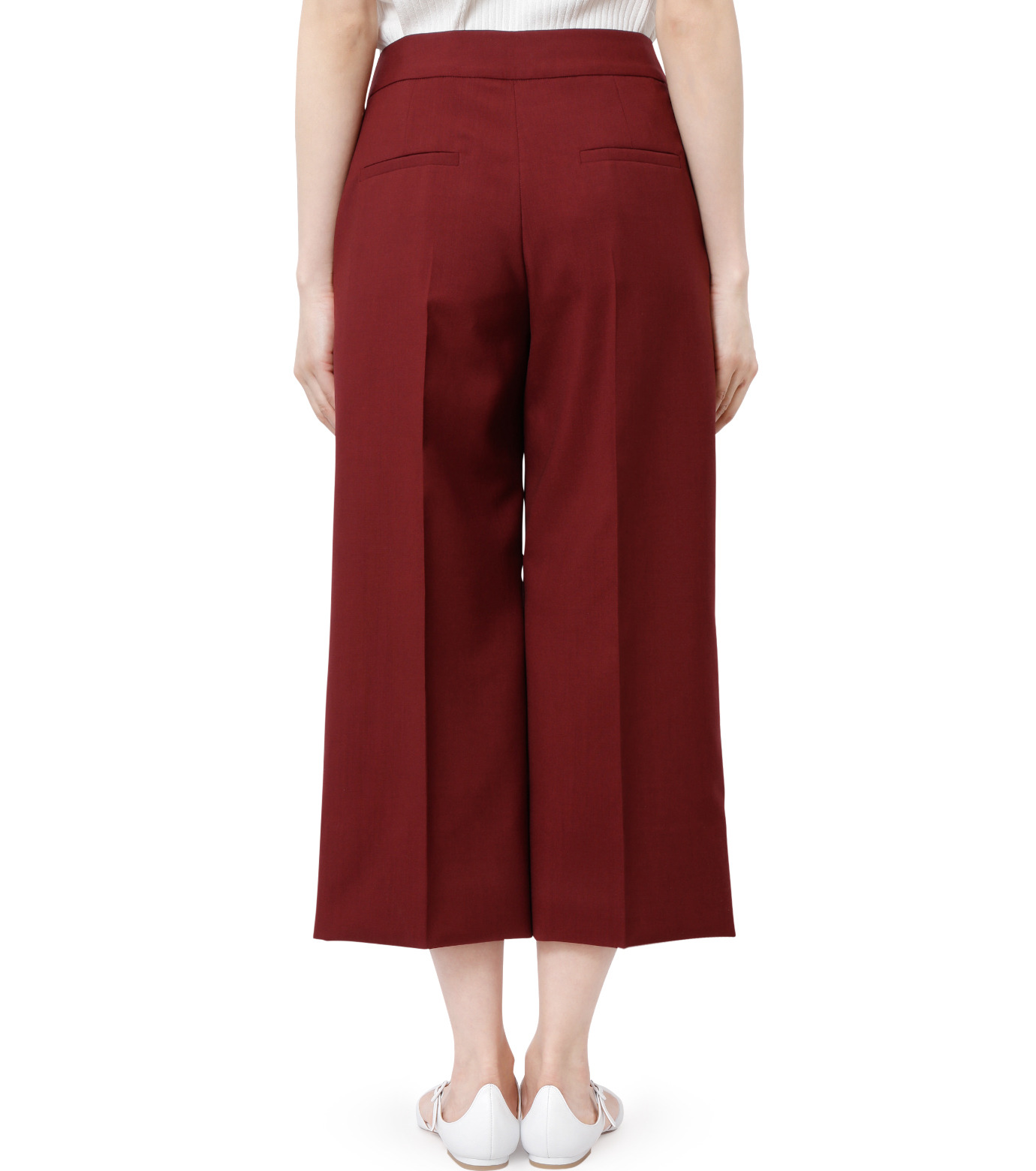 LE CIEL BLEU(ルシェルブルー)のサマーウールストレートパンツ-BORDEAUX(パンツ/pants)-18A68001 拡大詳細画像3