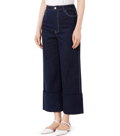 LE CIEL BLEU(ルシェルブルー)のデニムフォールドバックパンツ-INDIGO(パンツ/pants)-18A68304 詳細画像1
