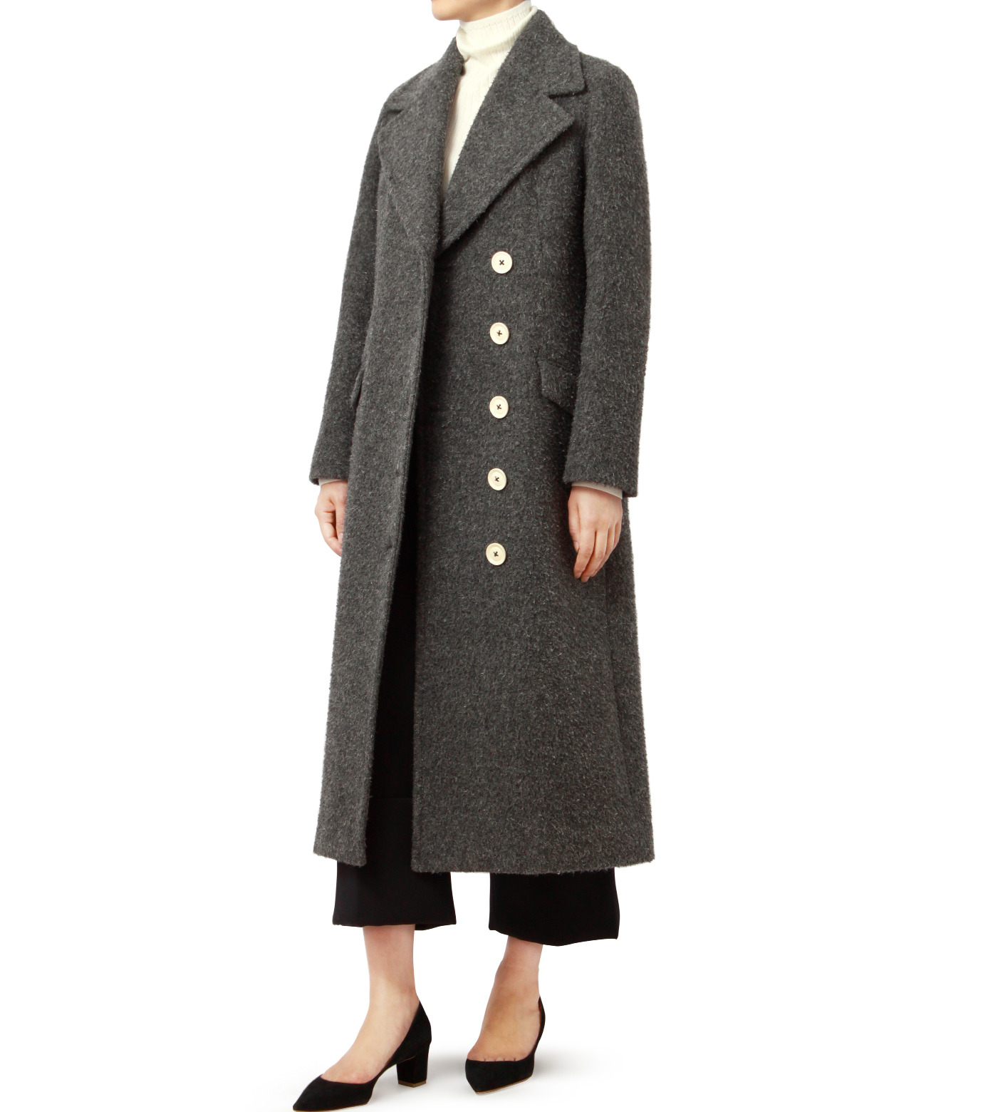 LE CIEL BLEU(ルシェルブルー)のハードナッピングレディシルエットコート-GRAY(コート/coat)-18A69402 拡大詳細画像3