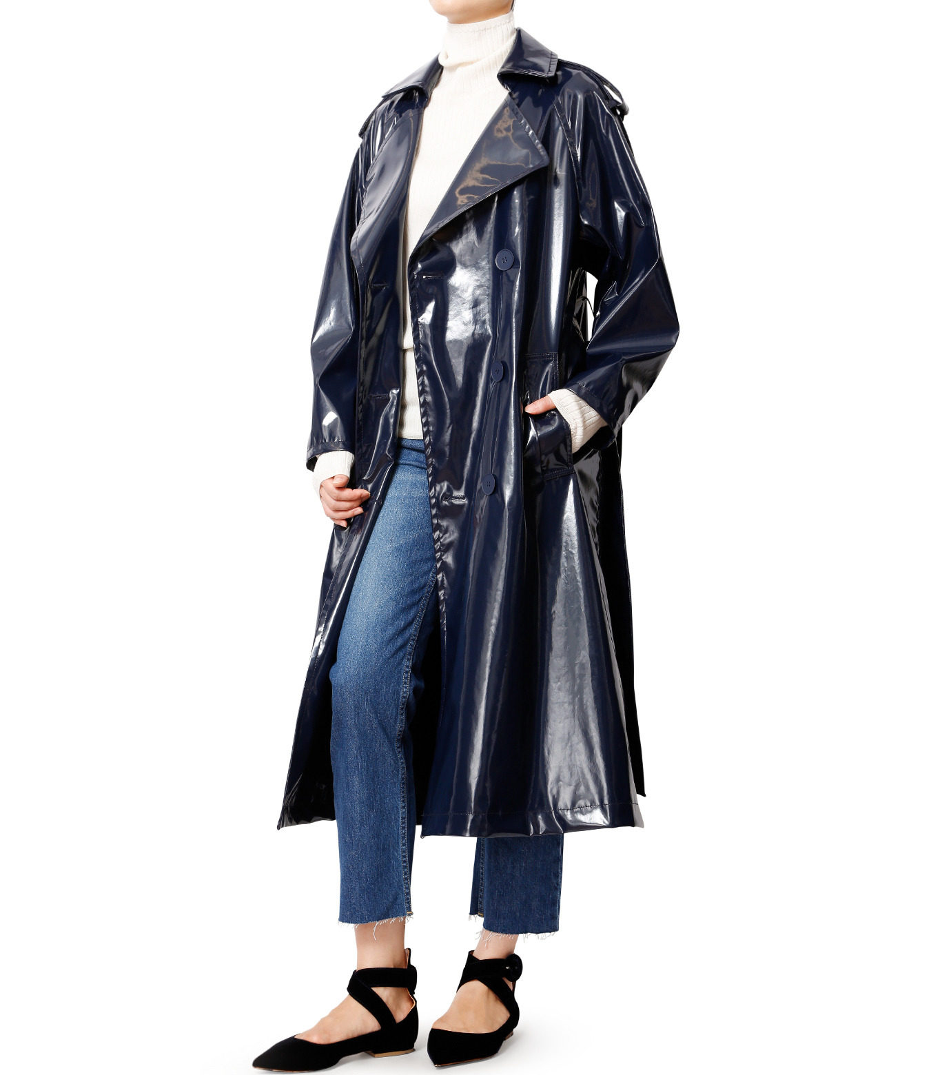 LE CIEL BLEU(ルシェルブルー)のフェイクエナメルレディトレンチコート-NAVY(コート/coat)-18A69408 拡大詳細画像3
