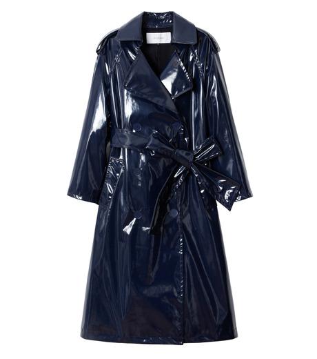 LE CIEL BLEU(ルシェルブルー)のフェイクエナメルレディトレンチコート-NAVY(コート/coat)-18A69408 詳細画像4