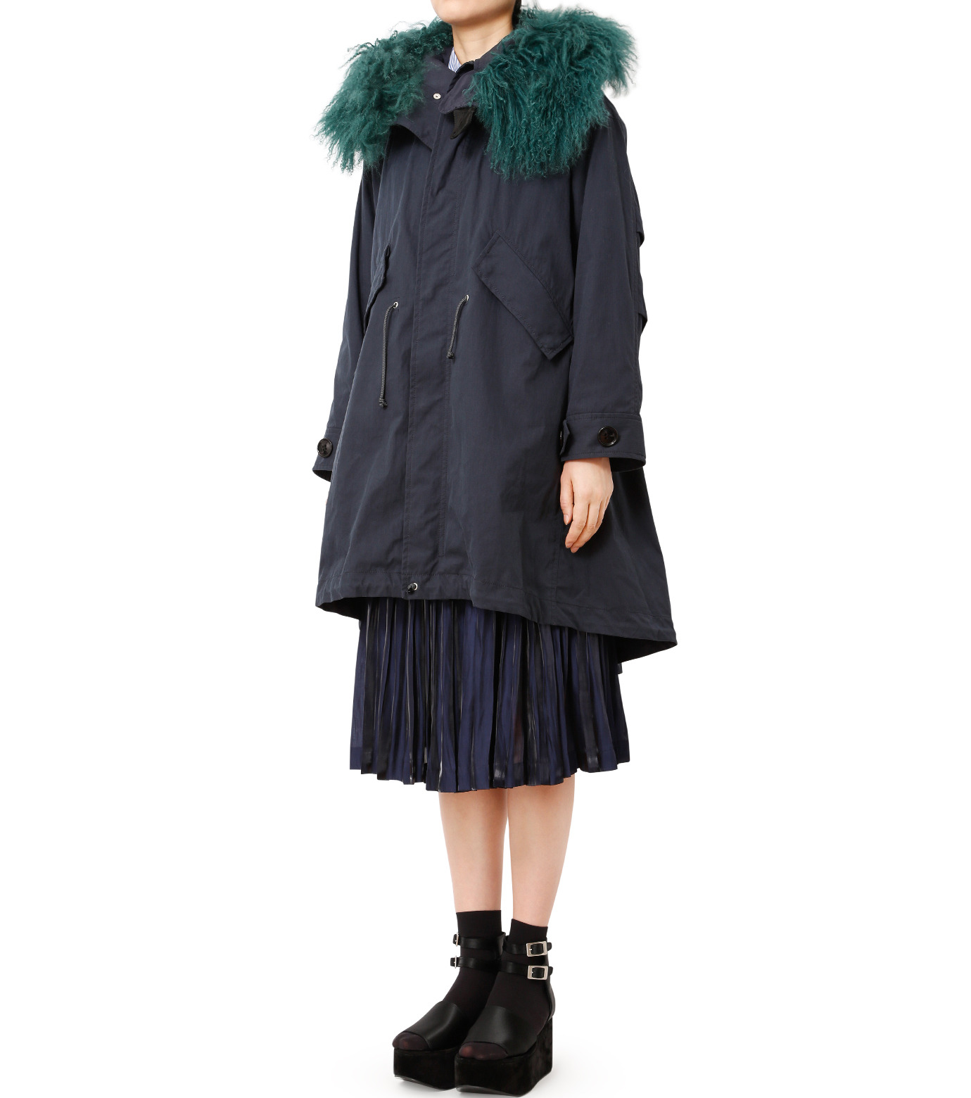LE CIEL BLEU(ルシェルブルー)のファーカラーモッズコート-NAVY(コート/coat)-18A69409 拡大詳細画像1