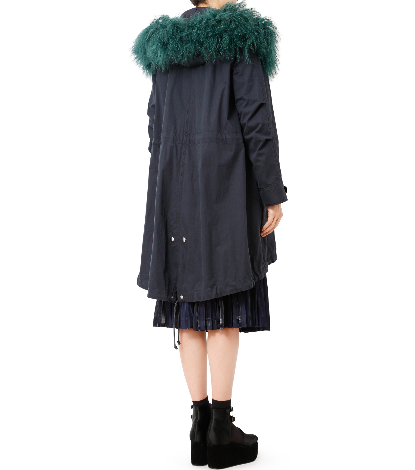 LE CIEL BLEU(ルシェルブルー)のファーカラーモッズコート-NAVY(コート/coat)-18A69409 拡大詳細画像2