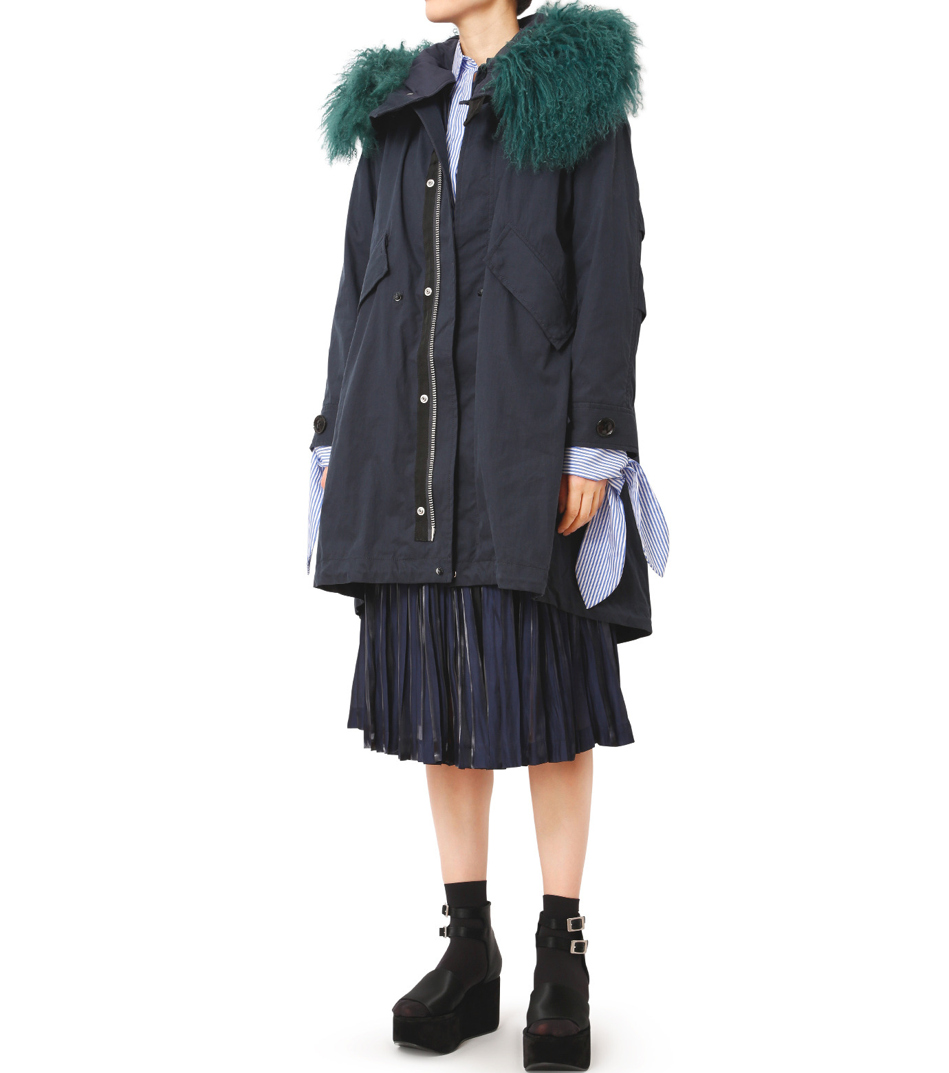 LE CIEL BLEU(ルシェルブルー)のファーカラーモッズコート-NAVY(コート/coat)-18A69409 拡大詳細画像3