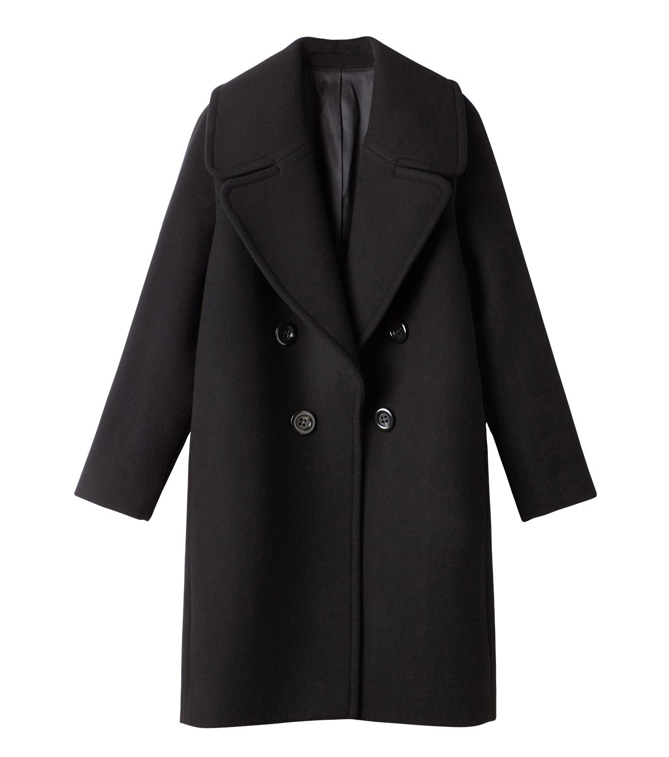 LE CIEL BLEU(ルシェルブルー)のビッグカラーコート-BLACK(コート/coat)-18A69511 拡大詳細画像4