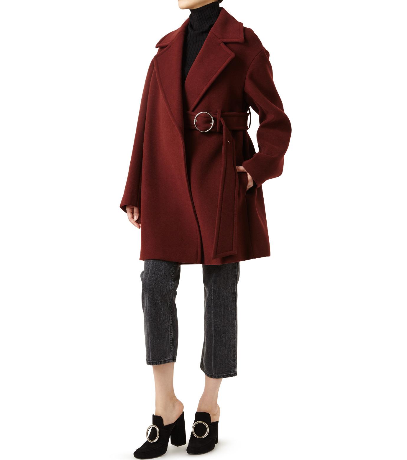 LE CIEL BLEU(ルシェルブルー)のベルトオーバーコート-BORDEAUX(コート/coat)-18A69512 拡大詳細画像3