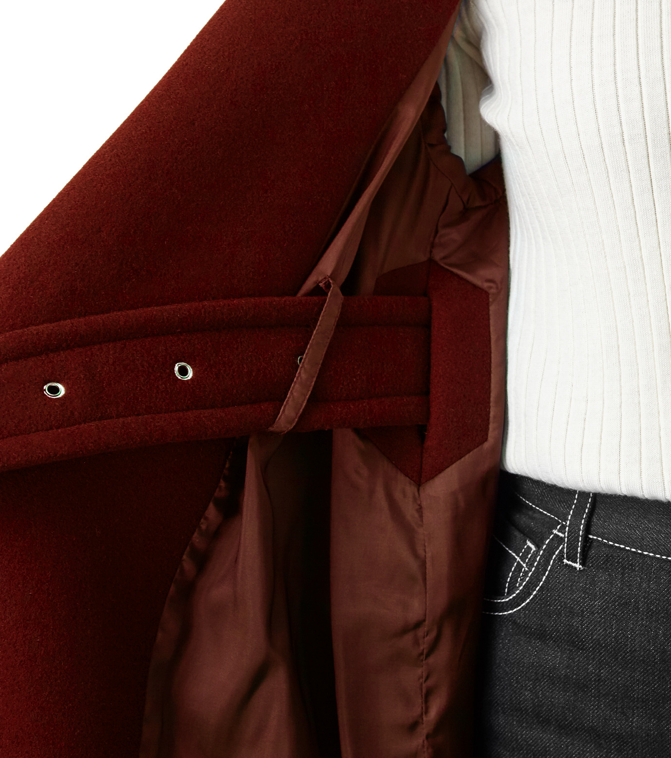 LE CIEL BLEU(ルシェルブルー)のベルトオーバーコート-BORDEAUX(コート/coat)-18A69512 拡大詳細画像4