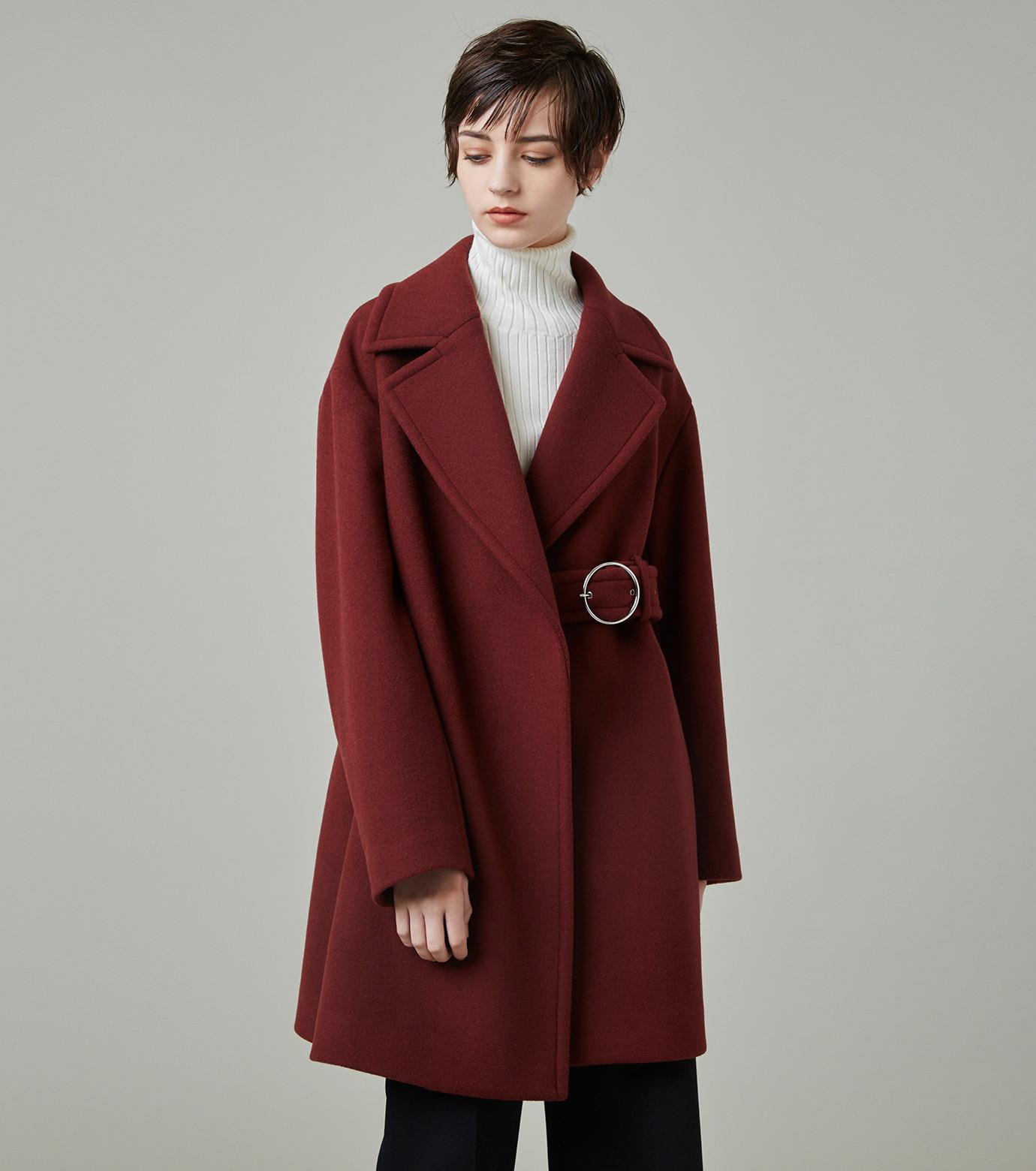 LE CIEL BLEU(ルシェルブルー)のベルトオーバーコート-BORDEAUX(コート/coat)-18A69512 拡大詳細画像5