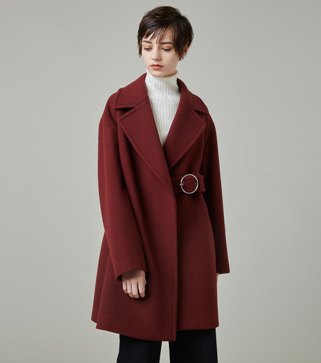 LE CIEL BLEU(ルシェルブルー)のベルトオーバーコート-BORDEAUX(コート/coat)-18A69512 詳細画像5