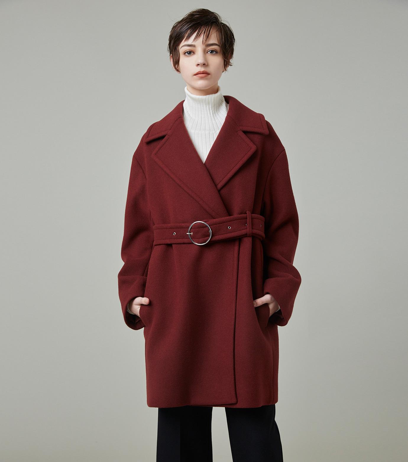 LE CIEL BLEU(ルシェルブルー)のベルトオーバーコート-BORDEAUX(コート/coat)-18A69512 拡大詳細画像6