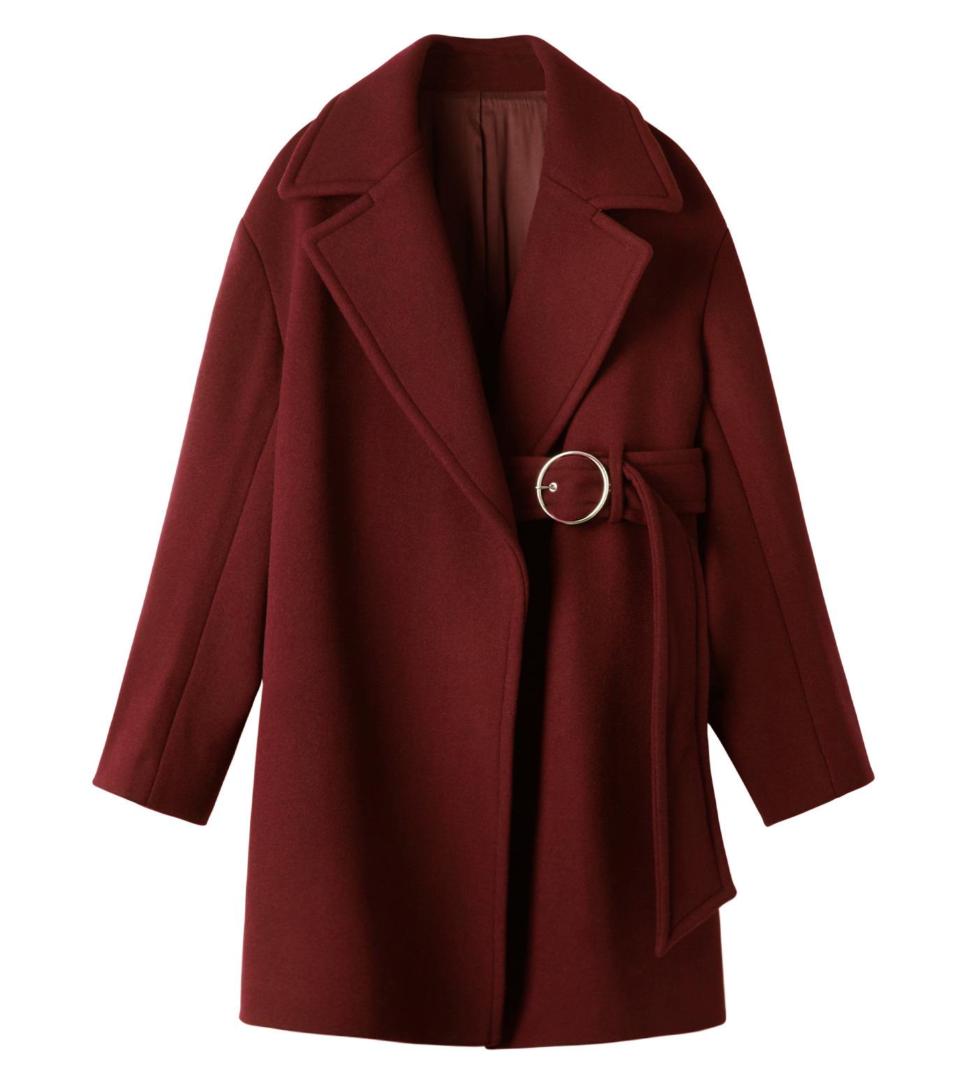 LE CIEL BLEU(ルシェルブルー)のベルトオーバーコート-BORDEAUX(コート/coat)-18A69512 拡大詳細画像7