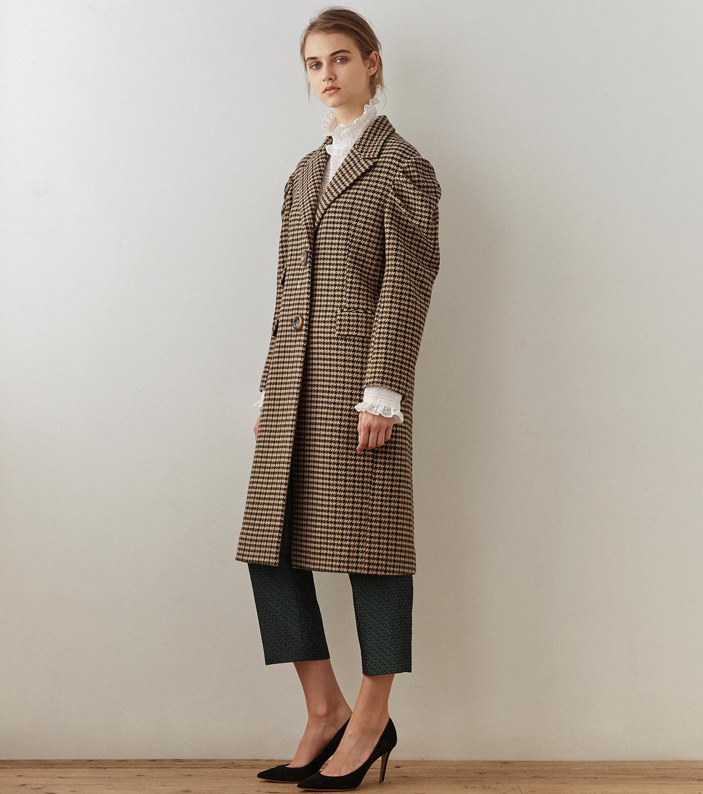 LE CIEL BLEU(ルシェルブルー)のガンクラブチェックパフコート-BEIGE(コート/coat)-18A69513 拡大詳細画像1