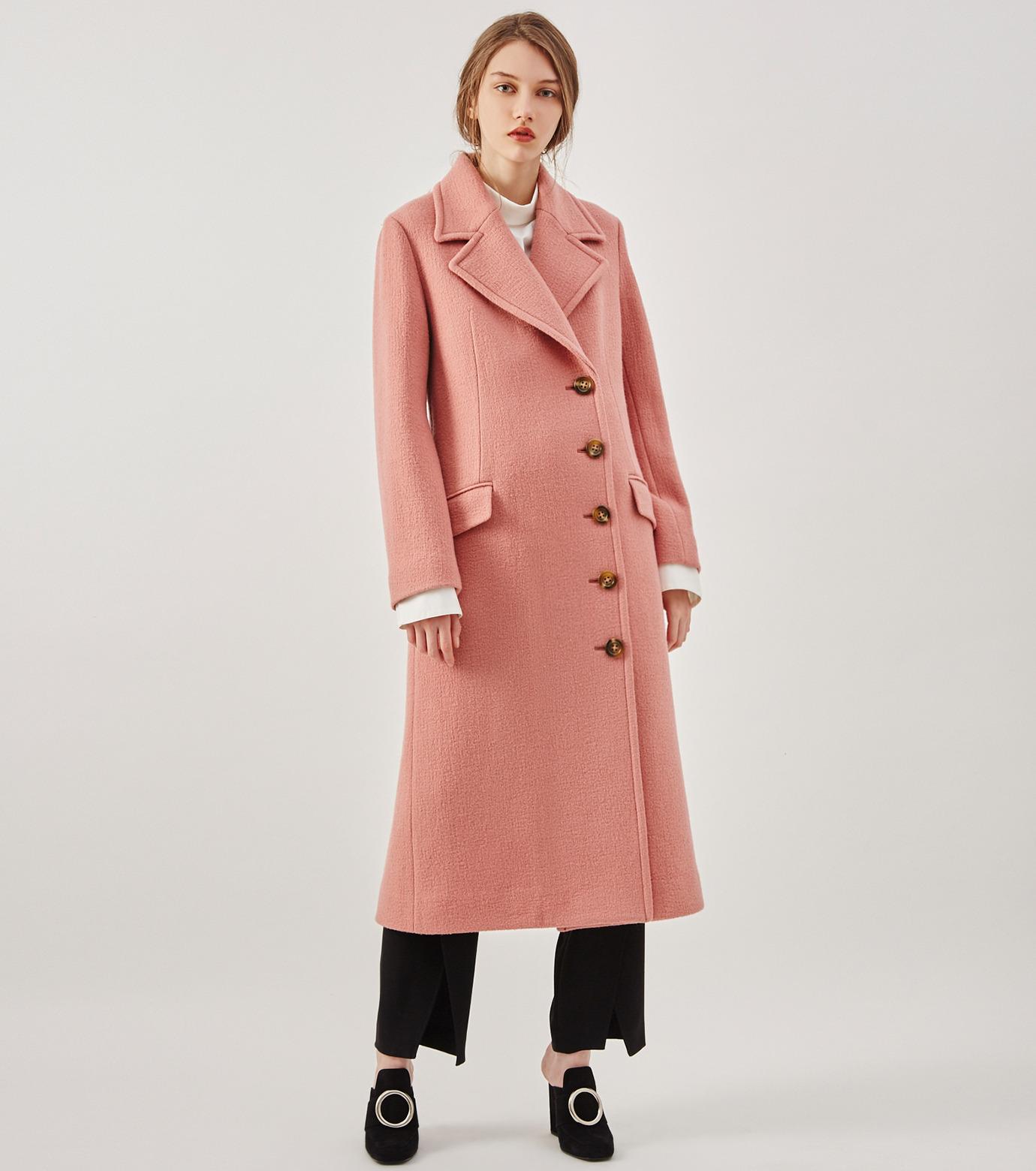 LE CIEL BLEU(ルシェルブルー)のナッピングウールレディーコート-SALMON PINK(コート/coat)-18A69716 拡大詳細画像2