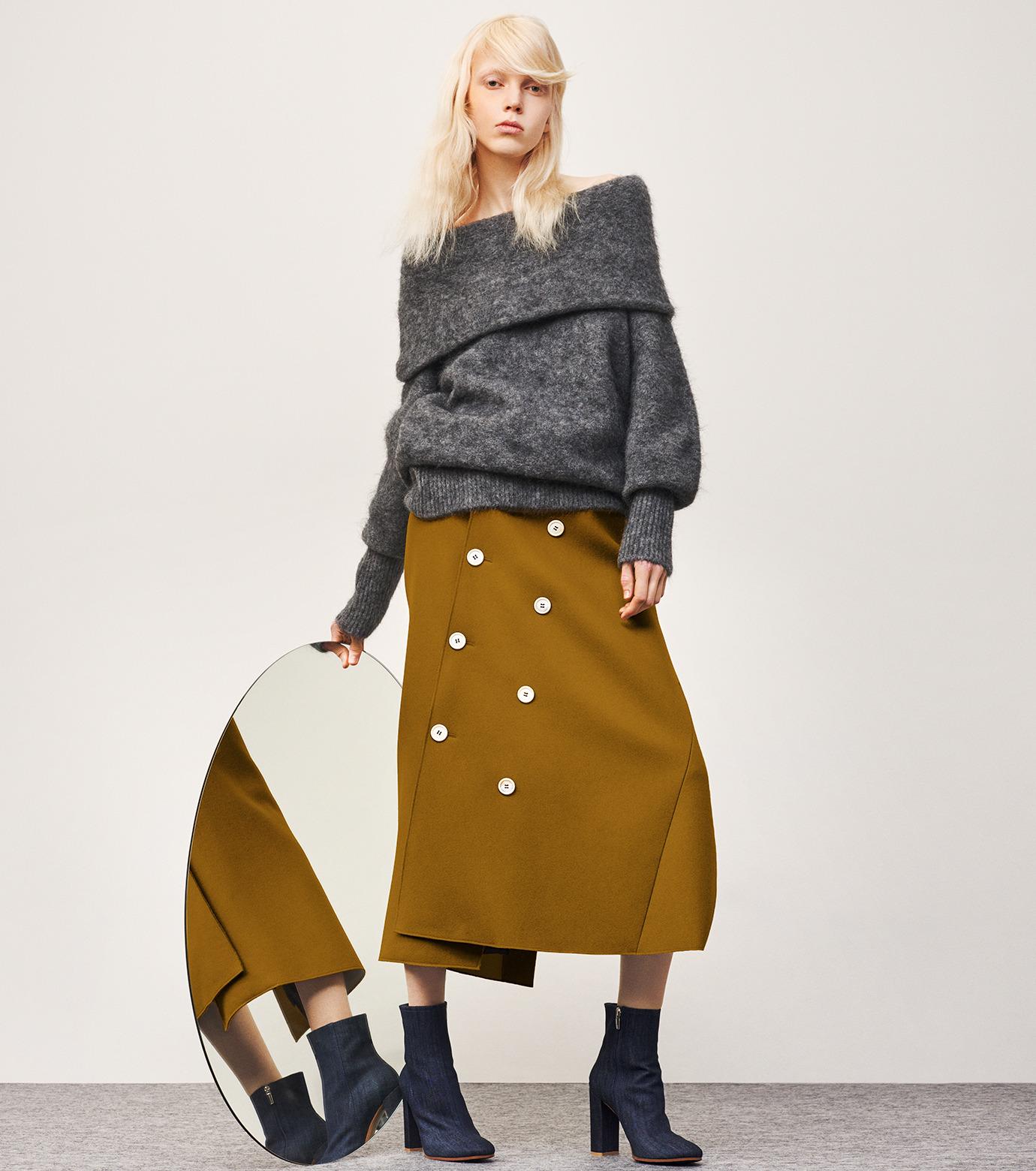IRENE(アイレネ)のツイストボックスラップスカート-MUSTARD(スカート/skirt)-18A87002 拡大詳細画像7