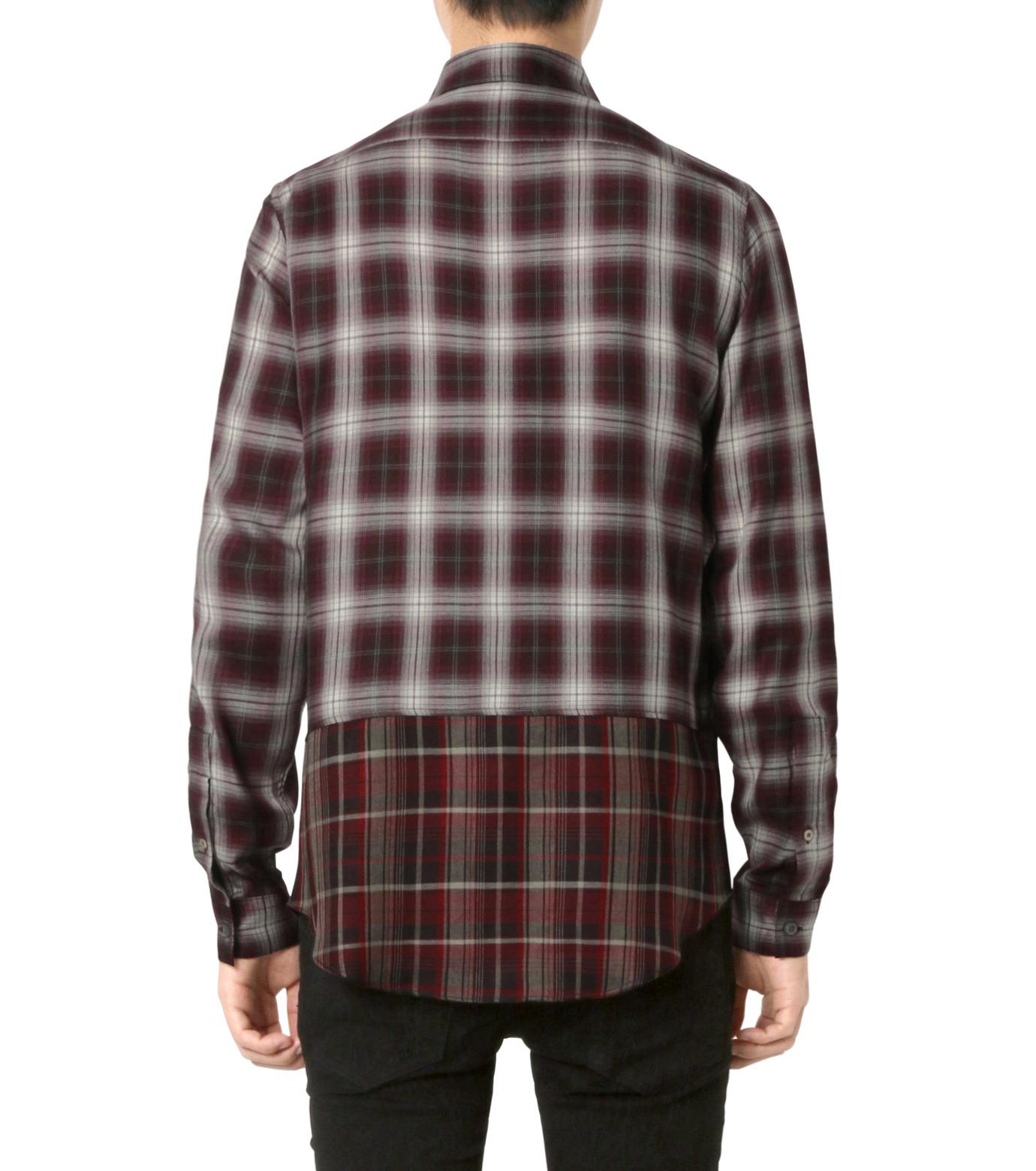 HL HEDDIE LOVU(エイチエル・エディールーヴ)のLAYERED CHECK SHIRT-BORDEAUX(シャツ/shirt)-18A93001-63 拡大詳細画像2