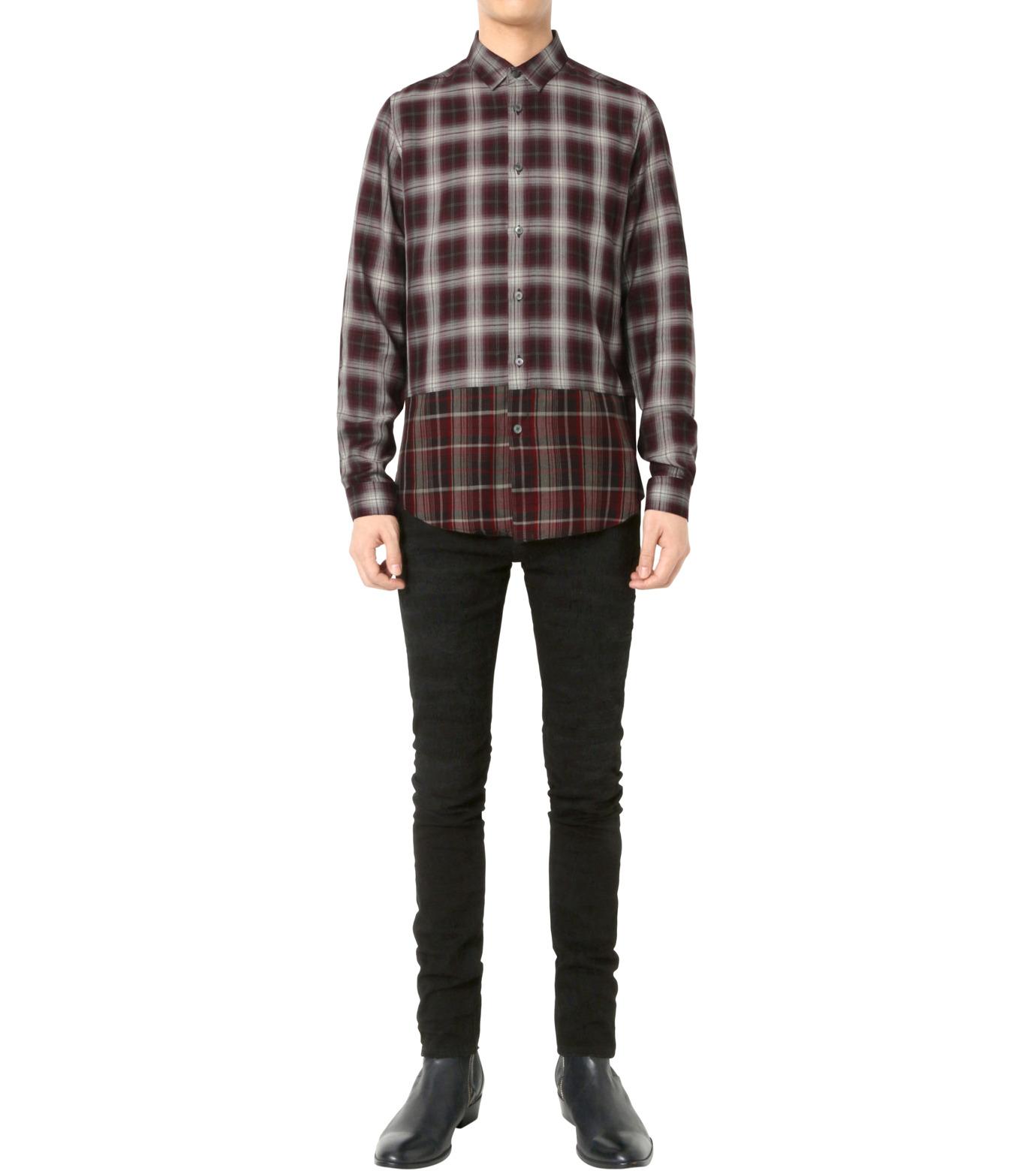 HL HEDDIE LOVU(エイチエル・エディールーヴ)のLAYERED CHECK SHIRT-BORDEAUX(シャツ/shirt)-18A93001-63 拡大詳細画像3