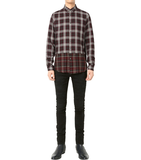 HL HEDDIE LOVU(エイチエル・エディールーヴ)のLAYERED CHECK SHIRT-BORDEAUX(シャツ/shirt)-18A93001-63 詳細画像3