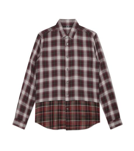 HL HEDDIE LOVU(エイチエル・エディールーヴ)のLAYERED CHECK SHIRT-BORDEAUX(シャツ/shirt)-18A93001-63 詳細画像4