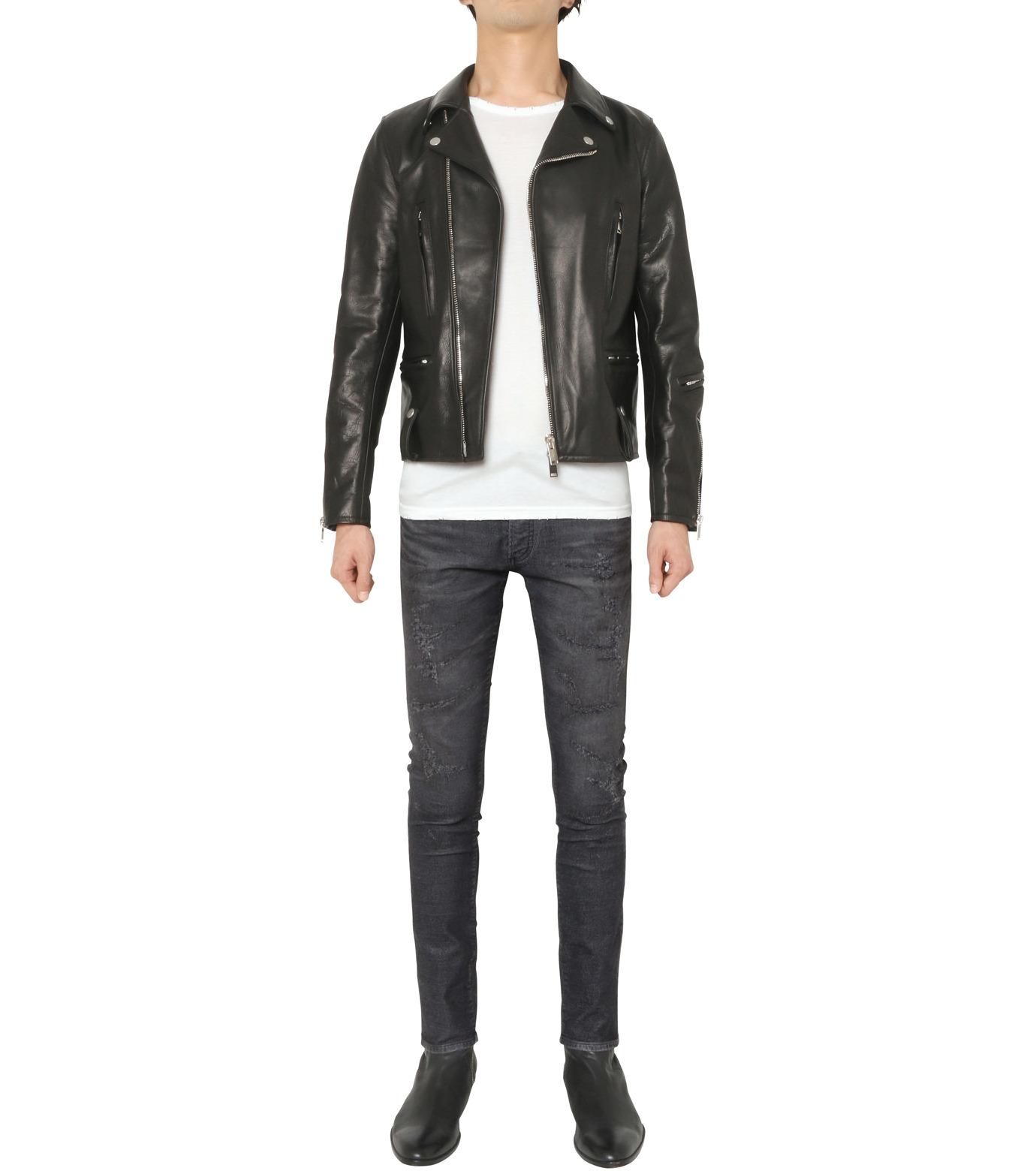 HL HEDDIE LOVU(エイチエル・エディールーヴ)のSEMI DOUBLE RIDERS JACKET-BLACK(ジャケット/jacket)-18A94001-13 拡大詳細画像2