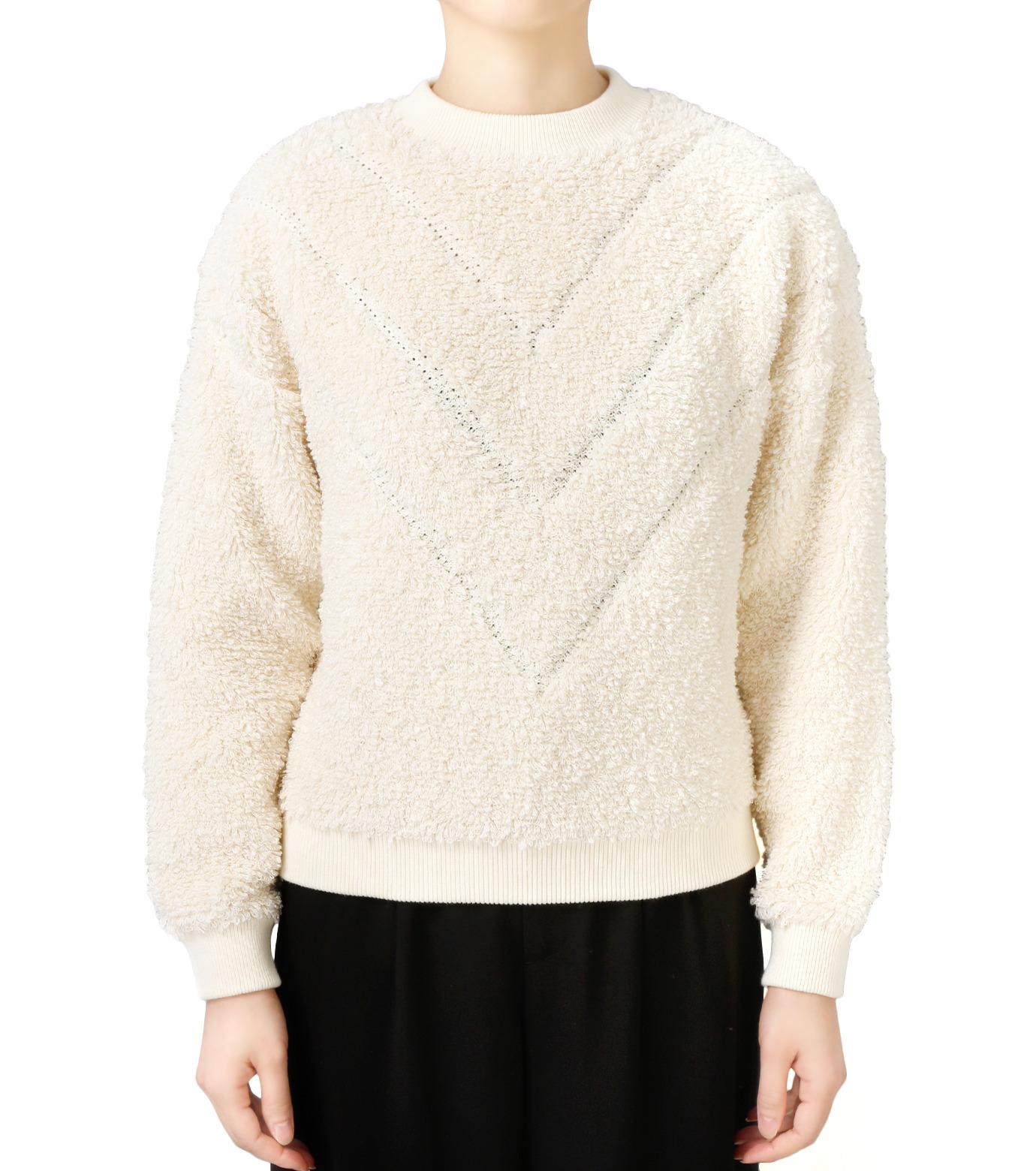 LE CIEL BLEU(ルシェルブルー)のパイルスウェットニットトップス-WHITE(ニット/knit)-18S61010 拡大詳細画像1