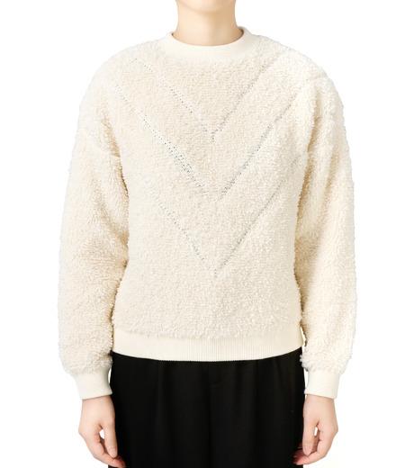 LE CIEL BLEU(ルシェルブルー)のパイルスウェットニットトップス-WHITE(ニット/knit)-18S61010 詳細画像1