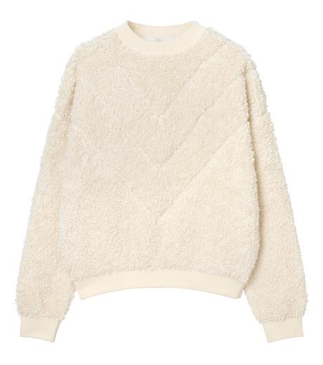 LE CIEL BLEU(ルシェルブルー)のパイルスウェットニットトップス-WHITE(ニット/knit)-18S61010 詳細画像5