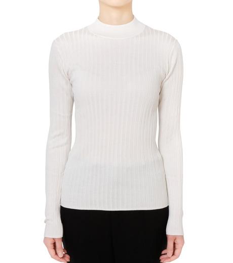 LE CIEL BLEU(ルシェルブルー)のシルクワイドリブトップス-WHITE(ニット/knit)-18S61013 詳細画像1