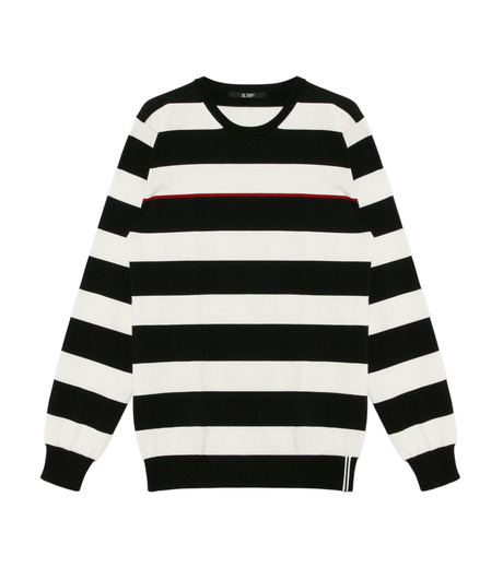 HL HEDDIE LOVU(エイチエル・エディールーヴ)のWIDE PITCH BORDER KNIT-BLACK(SWEATERS & KNITWEARS/SWEATERS & KNITWEARS)-18S91001-13 詳細画像1
