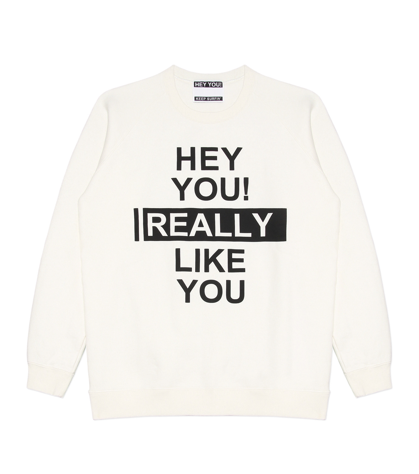 HEY YOU !(ヘイユウ)のHEY YOU LIKE YOU-WHITE(カットソー/cut and sewn)-18S92003-4 拡大詳細画像1