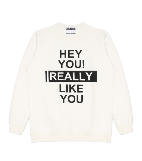 HEY YOU !(ヘイユウ)のHEY YOU LIKE YOU-WHITE(カットソー/cut and sewn)-18S92003-4 詳細画像1