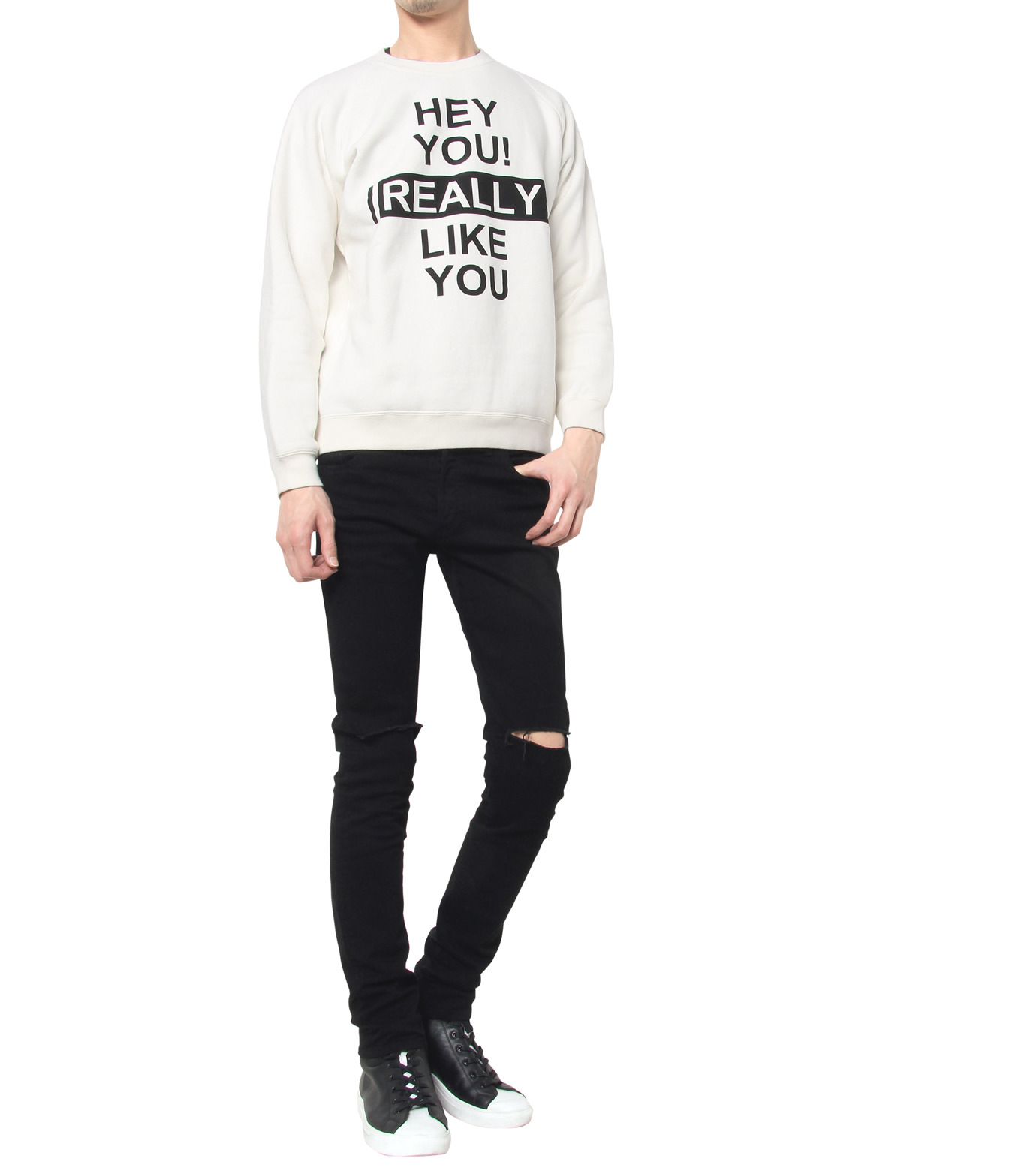 HEY YOU !(ヘイユウ)のHEY YOU LIKE YOU-WHITE(カットソー/cut and sewn)-18S92003-4 拡大詳細画像4