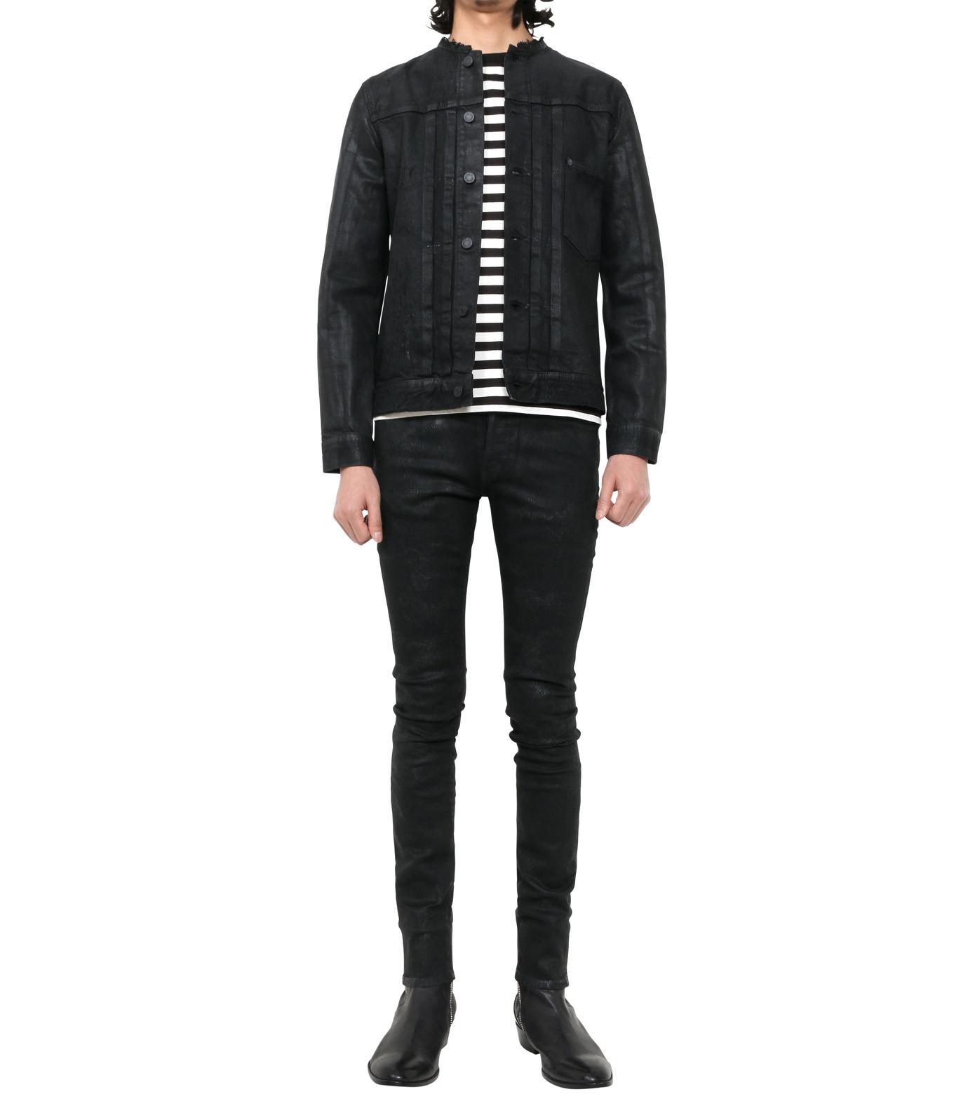 HL HEDDIE LOVU(エイチエル・エディールーヴ)のCOLLARLESS DENIM JACKET-BLACK(ジャケット/jacket)-18S94007-13 拡大詳細画像1