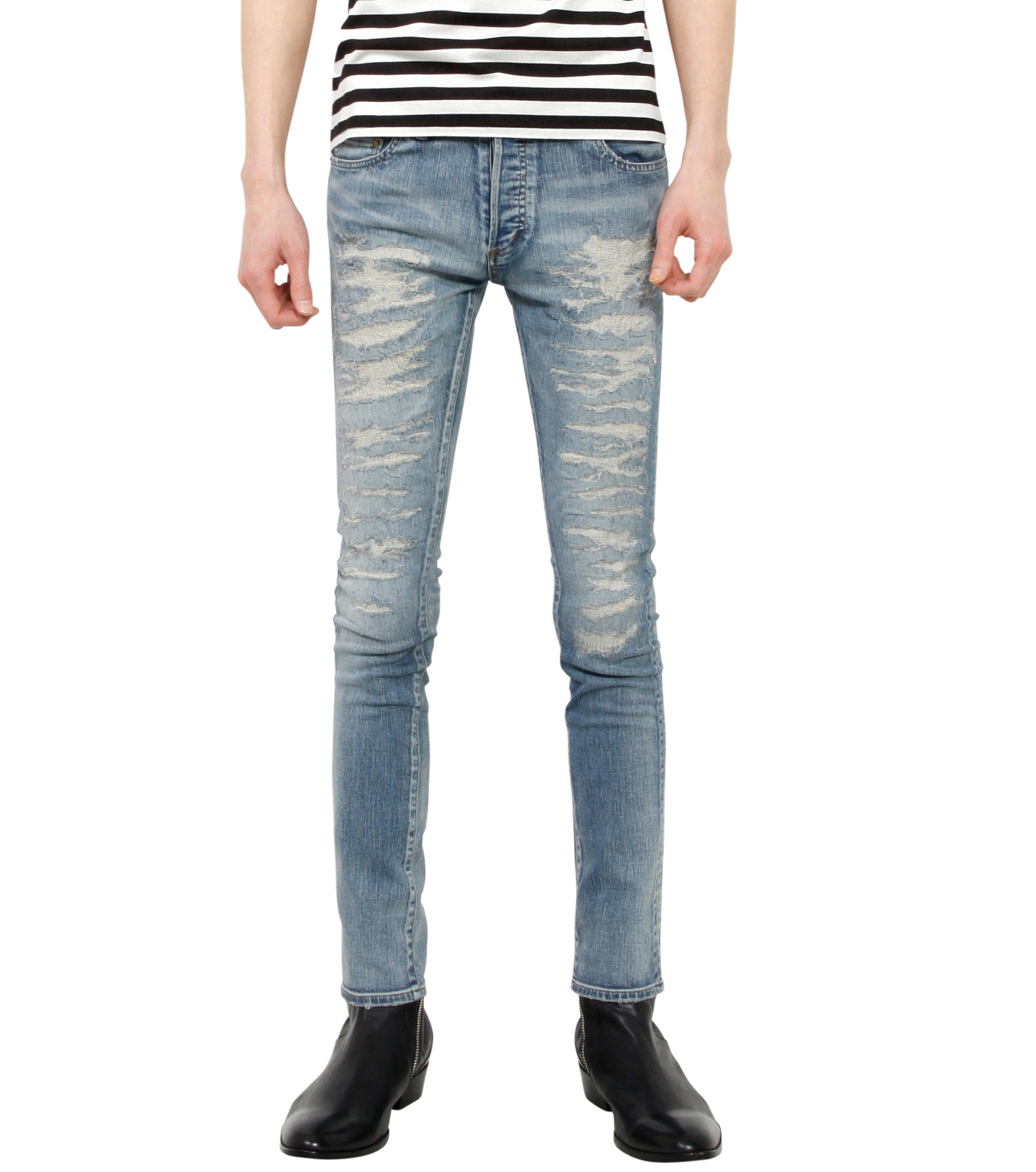 HL HEDDIE LOVU(エイチエル・エディールーヴ)のind damage3 skin slim-BLUE(パンツ/pants)-18S98002-92 拡大詳細画像1