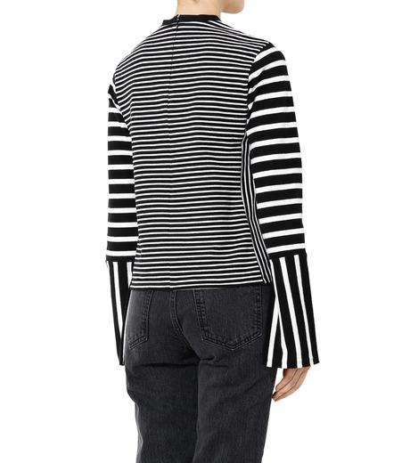 LE CIEL BLEU(ルシェルブルー)のミックスピッチボーダートップス-BLACK(カットソー/cut and sewn)-19S62101 詳細画像4