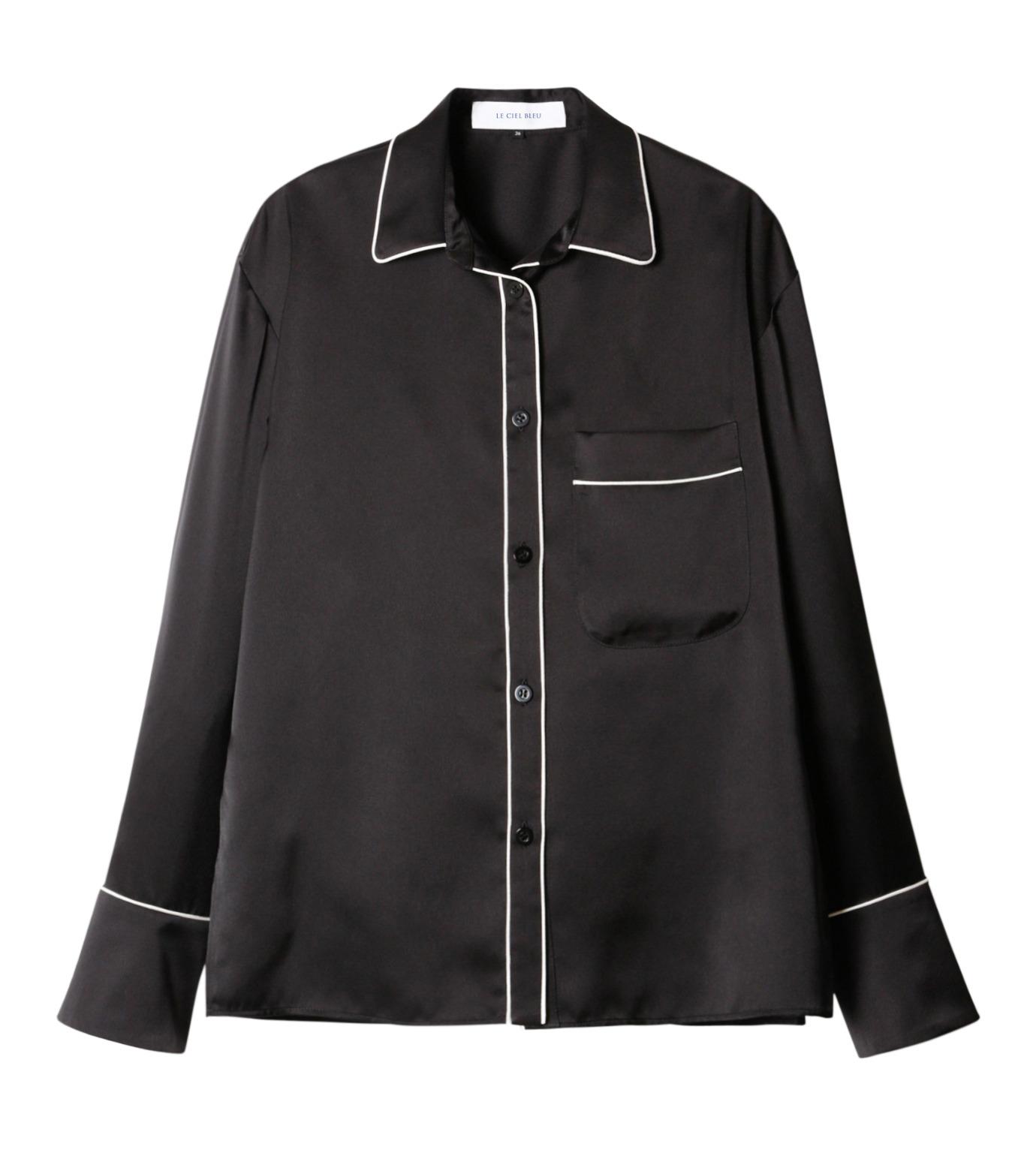 LE CIEL BLEU(ルシェルブルー)のパジャマルックシャツ-BLACK(シャツ/shirt)-19S63101 拡大詳細画像1