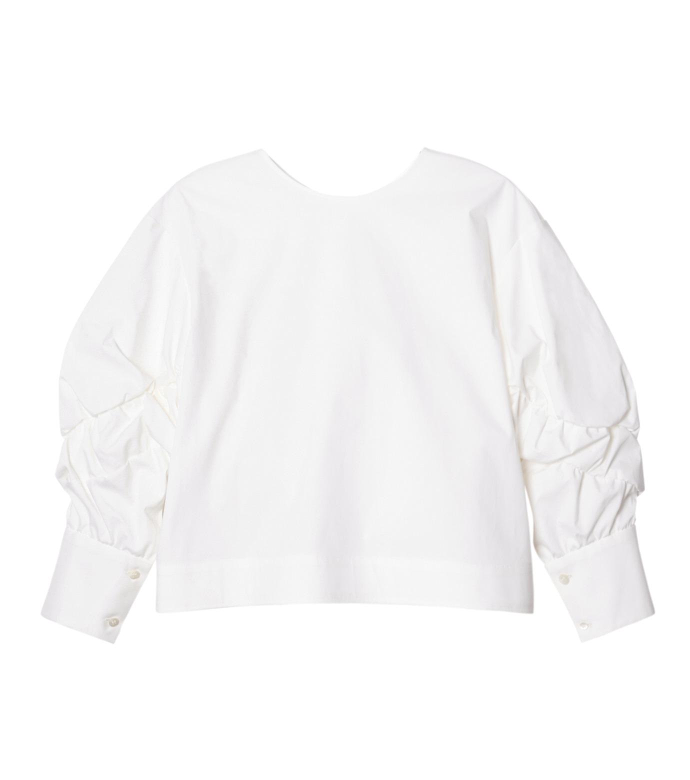 LE CIEL BLEU(ルシェルブルー)のタイプライターシュリンクスリーブトップス-WHITE(シャツ/shirt)-19S63104 拡大詳細画像1