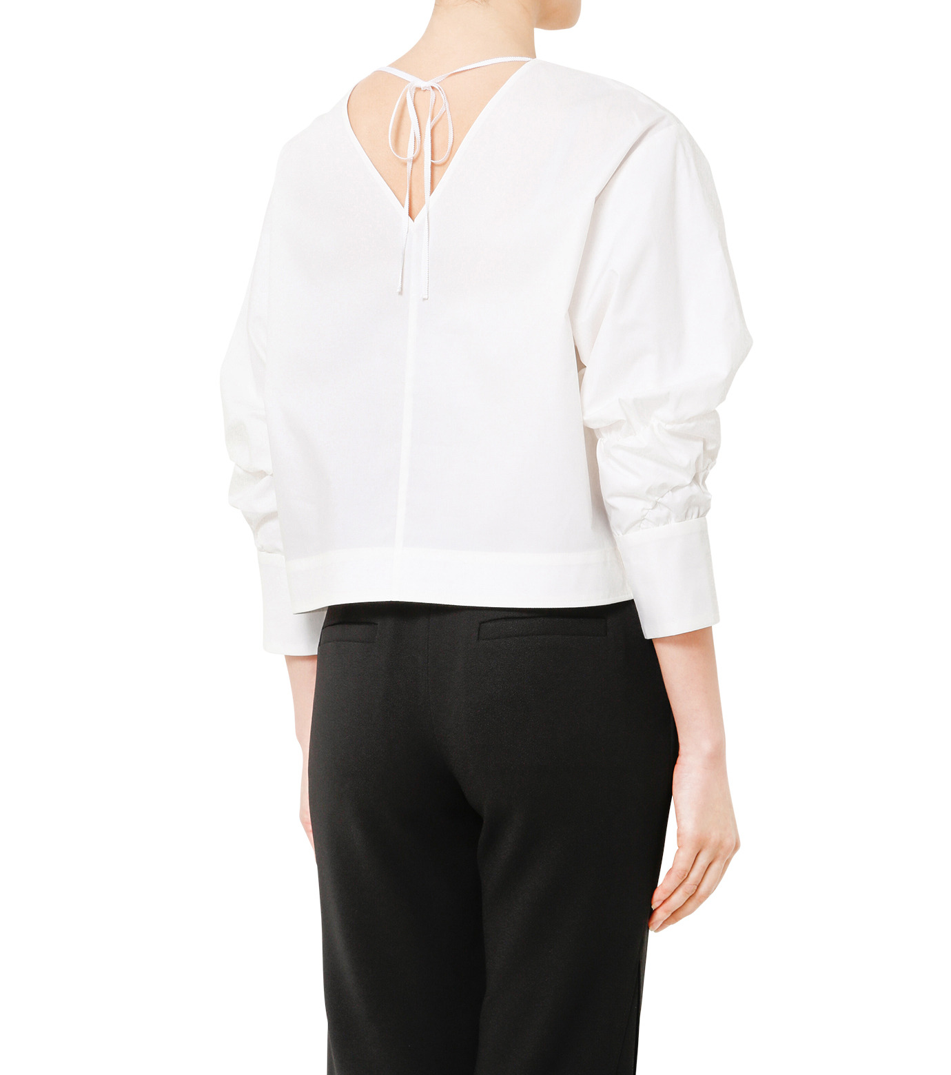 LE CIEL BLEU(ルシェルブルー)のタイプライターシュリンクスリーブトップス-WHITE(シャツ/shirt)-19S63104 拡大詳細画像4