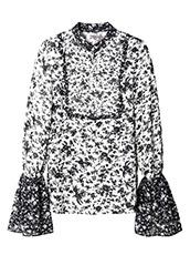 LE CIEL BLEU(ルシェルブルー) パターンミックスフリルシャツ