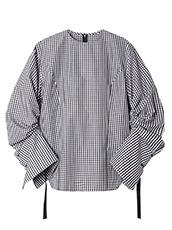 LE CIEL BLEU ギンガムチェックドローストリングシャツ