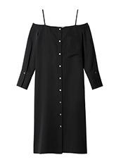 LE CIEL BLEU(ルシェルブルー) オフショルダーシャツドレス