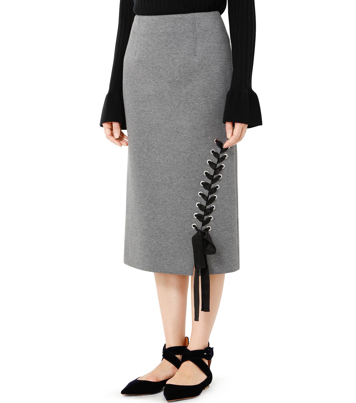 LE CIEL BLEU(ルシェルブルー)のレースアップペンシルスカート-GRAY(スカート/skirt)-19S67103 拡大詳細画像3