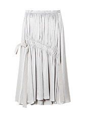 LE CIEL BLEU テープギャザリングサテンスカート