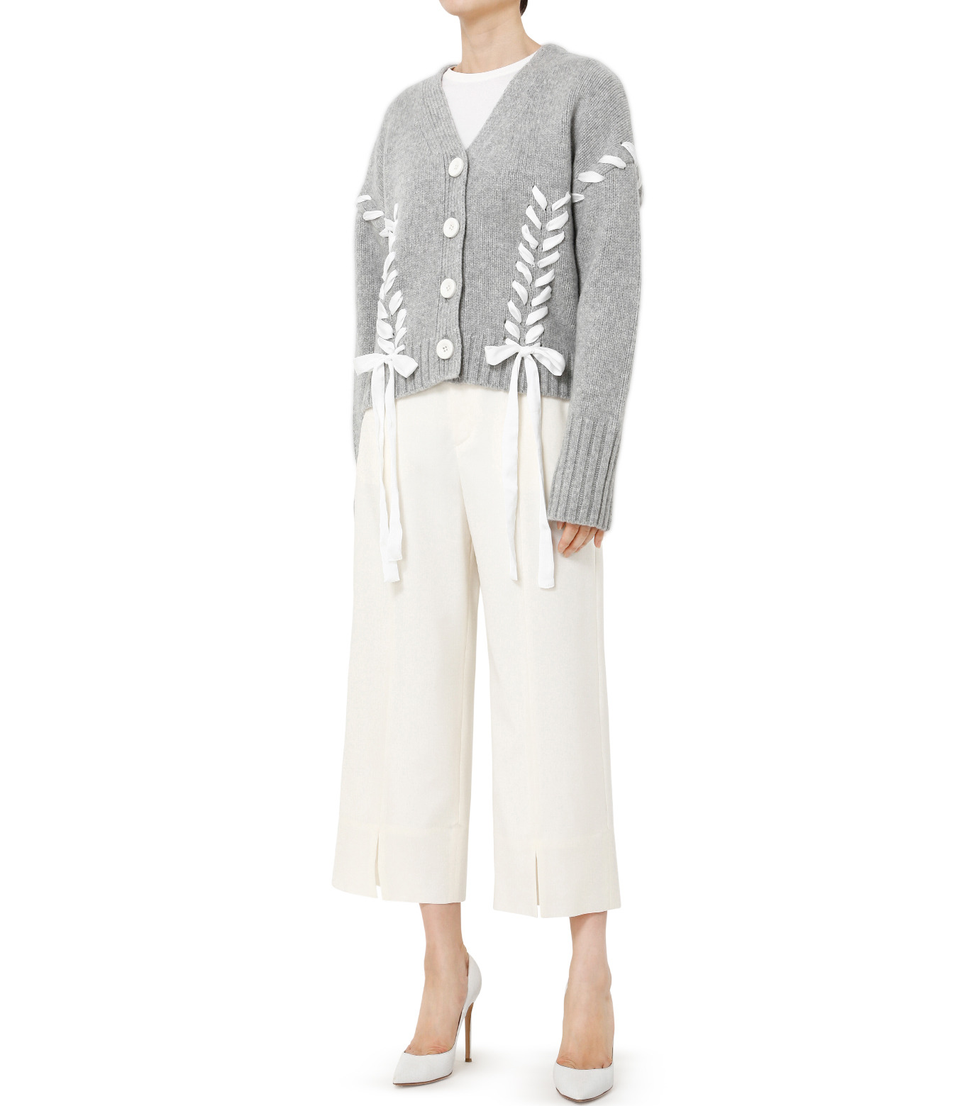 LE CIEL BLEU(ルシェルブルー)のサマーウールストレートパンツ-WHITE(パンツ/pants)-19S68105 拡大詳細画像2