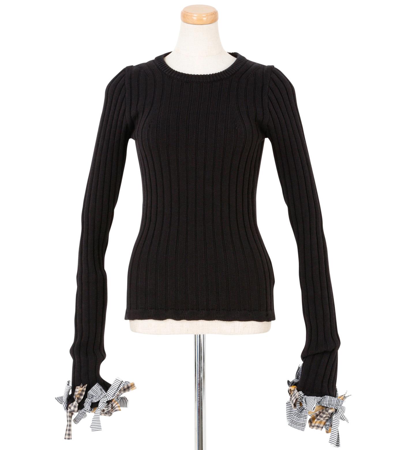 IRENE(アイレネ)のファブリックリボンニット-BLACK(ニット/knit)-19S81005 拡大詳細画像1