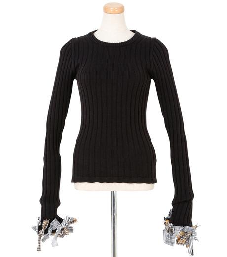 IRENE(アイレネ)のファブリックリボンニット-BLACK(ニット/knit)-19S81005 詳細画像1