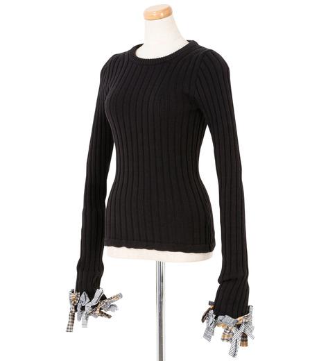 IRENE(アイレネ)のファブリックリボンニット-BLACK(ニット/knit)-19S81005 詳細画像2