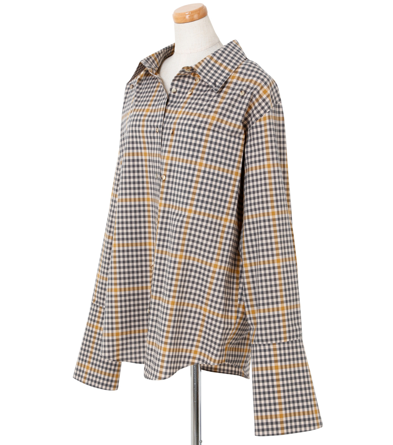 IRENE(アイレネ)のグラフチェックシャツ-LIGHT BEIGE(シャツ/shirt)-19S83001 拡大詳細画像2